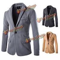 Мужчины падают хлопок смешивается чистого цвета твердое кнопку сукна пальто