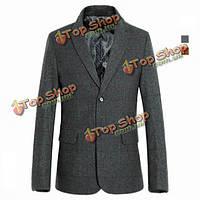 Качественные шерстяные спортивные куртки гороха кашемира воли делового костюма приталенные флисовые куртки