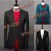Модные мужские сплошной цвет заразились две пряжки твидовый костюм