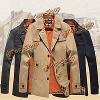 Осень-зима мужские случайные деловой костюм пальто стиль моды хлопок длинный жакет