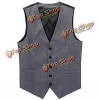 Мужская предназначен серый жилет мужской Slim Fit бизнес Leisure Suit жилет