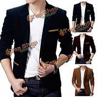Мужской британский стиль случайный одиночный bottun длинный рукав деловой костюм