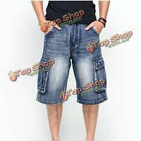 Джинсовые шорты мужские летние свободные ниже колена