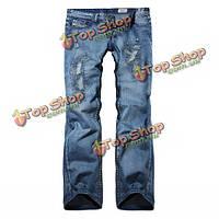 Мужские прямые джинсы синие