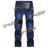 Мужские узкие джинсы мода Slim Fit синий деним
