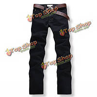 Черные джинсы мужские прямые повседневные Slim Fit брюки