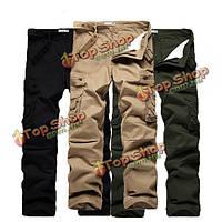Charmkpr вскользь брюки-карго сплошной цвет моды мульти-карманы длинные брюки