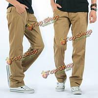 Вскользь свободные сплошной цвет хлопок брюки-карго на открытом воздухе работают удобные штаны
