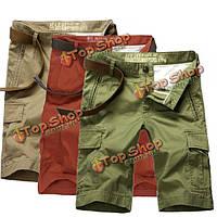 Лето мужские случайные брюки шорты моды 100% хлопка пляж шорты до колен