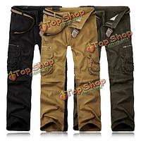 Charmkpr мужские случайные брюки-карго твердые цветные стильные карманы  украшенные длинные брюки