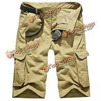 Плюс размер мужской хлопок случайных сплошной цвет грузовой шорты летом моды колена бермуды длины