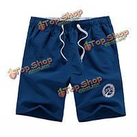 Плюс размер летом мужские пляжные шорты случайные быстрые сухие свободные спортивные шорты до колен