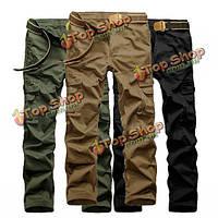 Мужская Открытый Тактические армии военные сплошной цвет брюки-карго случайные мульти-карман хлопок брюки