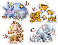 Пазл Дикие животные 4х1 (4,5,6,7) В-04126