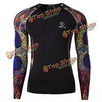Мужская одежда полиэстер моды 3D печать тройники велоспорта трико капиллярные спорт длинный рукав футболки