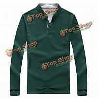 6 цветов мужские спортивные сплошной цвет с длинными рукавами рубашки поло