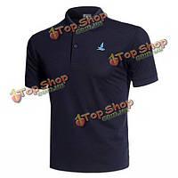 Вскользь сплошной цвет вышивки быстросохнущие дышащий короткий рукав футболки рубашки поло