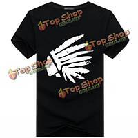 Мужчины лето плюс размер хлопка печати футболки O-образным вырезом с коротким рукавом случайные тройники