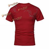 Хлопчатобумажный полиэстер лета мужчин футболка татуировки петли с коротким рукавом