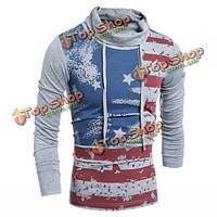 Мужской европейский стиль печати ролл высокий воротник длинный футболка пуловер
