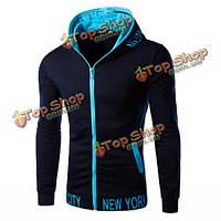 Мужская спортивная одежда моды толстовки с капюшоном жакета застежки-молнии тонкое пальто
