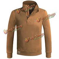 Мужская весна осень полуоткрытый стенд воротник кнопка свитер теплый пуловер