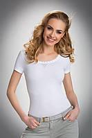 Женская футболка из хлопка белого цвета с коротким рукавом, модель Greta Eldar.