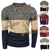 Зима воли полосатый вязаный теплый свитер повседневный круглый пуловер шеи