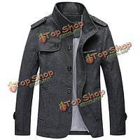 Мужская стоять воротник пальто ретро шерстяной плащ