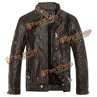 Мужская ВВС PU кожаная куртка стойкой воротник паровоз кожаная куртка