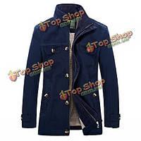 Мужская хлопка вскользь куртка способа стоять воротник пальто ветровку