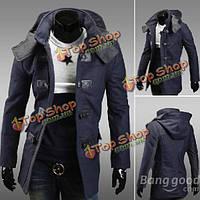 Мужское шерстяное пальто с капюшоном