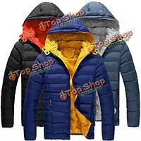 Мужская зима хлопка проложенный фугу куртки цвет сращивания с капюшоном пальто