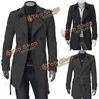 Мужское шерстяное пальто двубортный Slim Fit британском стиле