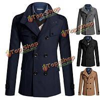 Мужская мода сплошной цвет шерсти двубортный британский стиль пальто вскользь куртка