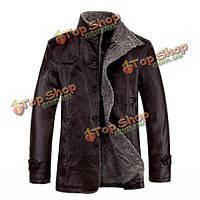 Мужская качественная теплая куртка из искусственной кожи с плюшевой подкладкой