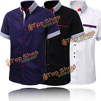 Мужские стильные формальные короткий рукав рубашки Slim Fit случайные костюмы сорочка вершины