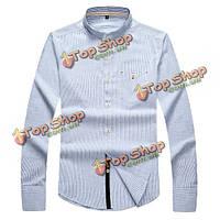 Мужская весна осень полосатый случайный бизнес стенд воротник моды длинный рукав сорочка
