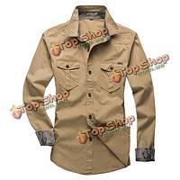 Плюс размер мужская повседневная рубашки хлопка пригонки нагрудные длинным рукавом рубашки работы