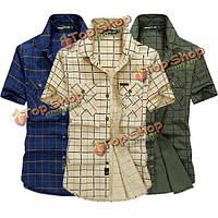 Мужчины летом случайные свободные печати моды сетки хлопка спорта на открытом воздухе рубашка с коротким рукавом