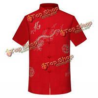 Мужская дракон тотем случайные вершины короткий рукав китайский костюм вышивка лето свободную рубашку