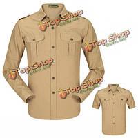 Senlin джипа на открытом воздухе быстросохнущие съемную манжету короткая рубашка мужская случайные спортивные рубашки с длинным рукавом