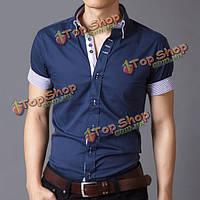 Мужской хлопок летом отложным бизнес пригонки Bristish стиль с коротким рукавом платье рубашка
