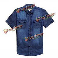 Мужчин голубой ковбой с коротким рукавом Slim Fit рубашки