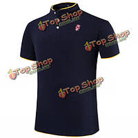 11 цветов вышивки мужской сплошной цвет стоять кнопка воротник лето Plus размер футболки рубашки поло