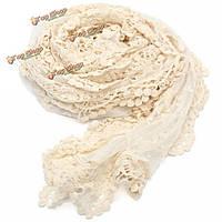 Женщины дамы вышивка цветочные крючком сетки кружева обрезки шарф длинный прозрачный платок