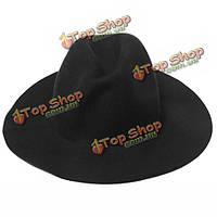 Женщины дамы джаз старинных шерсть котелок Trilby Fedora крышка широкими полями шляпу ковбоя