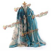 Дамы женщины зеленый синий вуали Бегония цветок шарфы длинный шарф платок пляж