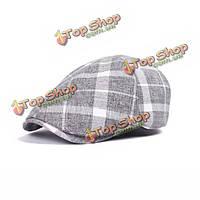 Унисекс мужчины женщины хлопка пустой полосой Газетчик береты крышка сетки плоская ковбойские шляпы таксиста