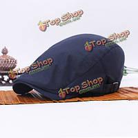 Мужчины женщины плоские хлопок простой твердый берета пряжки плоские крышки на открытом воздухе регулируемый солнцезащитный шлем отдыха